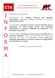 C.T.A. INFORMA CRÉDITO HORARIO MANUEL FERNANDEZ, FEBRERO 2019