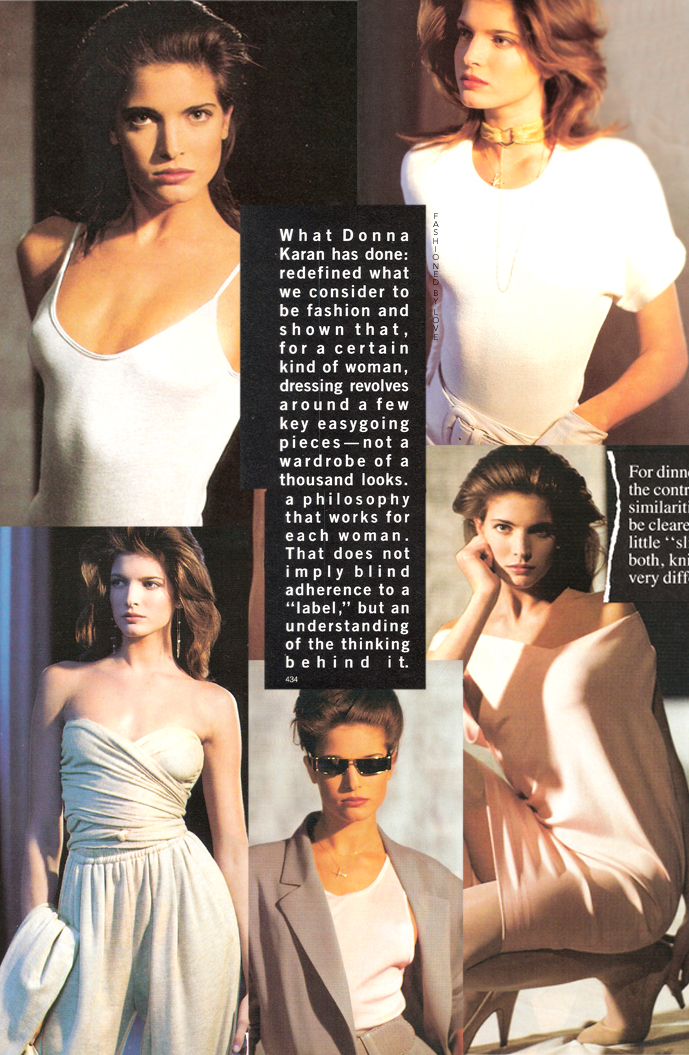 Donna Karan 7 Easy Pieces featured in Vogue US March 1987 (Stephanie Seymour photographed by Arthur Elgort)
