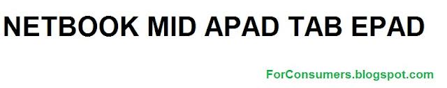 NETBOOK MID APAD TAB EPAD tablet