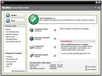 Jika anda tertarik memakainya, silahkan download antivirus terbaru 2012 dari McAfee