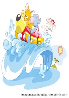 todos los animalitos encima de una ola