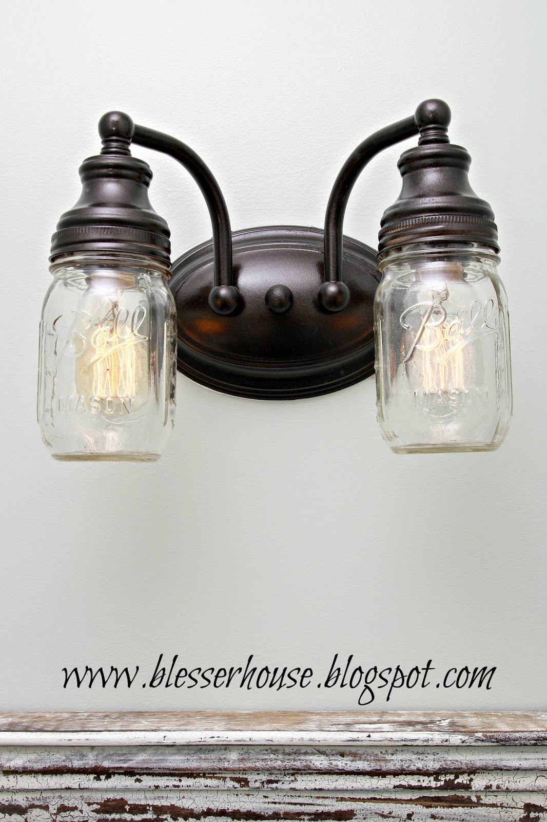 Bathroom Vanity Mason Jar Light diy mason jar vanity light - bless'er house