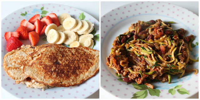 slimming world syn free pancakes and chilli con carne with courgetti
