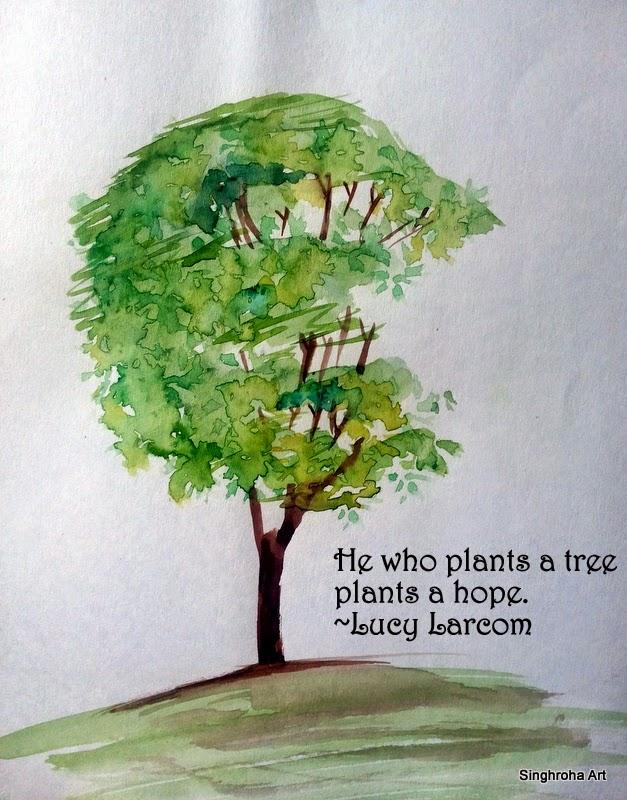 tree, earth, green, environment, watercolor