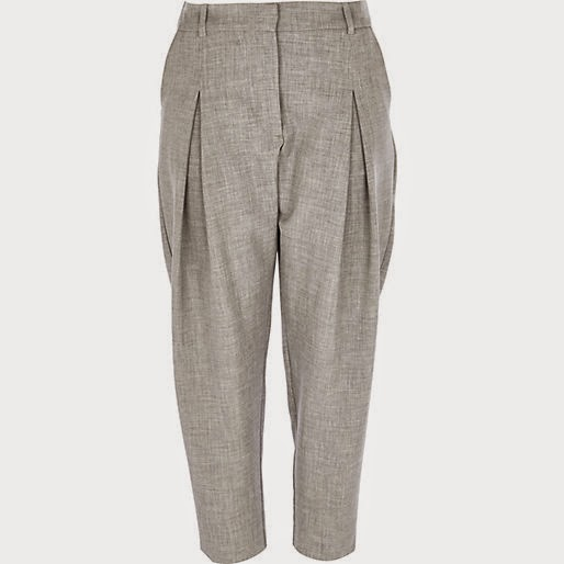 grey pleat cigarette trousers