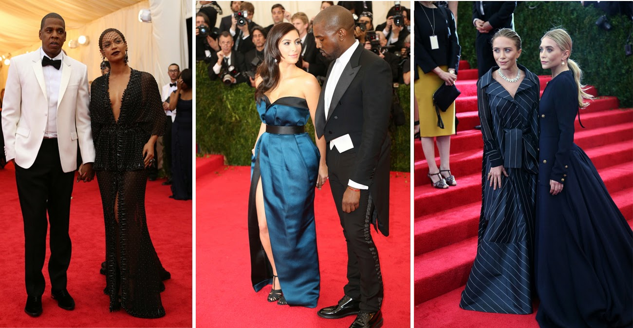 Met Gala 2014: Jay Z and Beyoncé Knowles both in Givenchy, Kim Kardashian and Kanye West both in Lanvin, Mary-Kate and Ashley Olsen both in Vintage Chanel