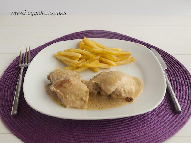 Receta de pollo con nata y cebolla