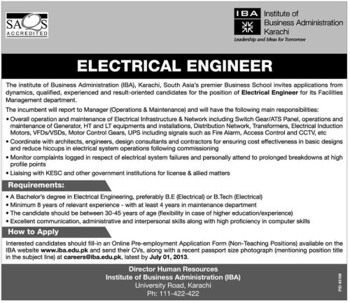 Electrical Engineer Required in IBA Karachi - Jobs in ...