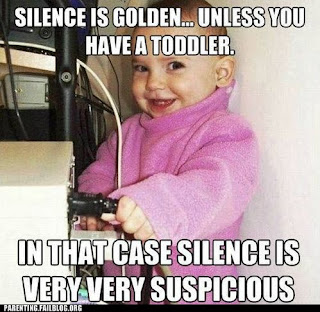 silence is very suspicious baby pulling computer power cable out