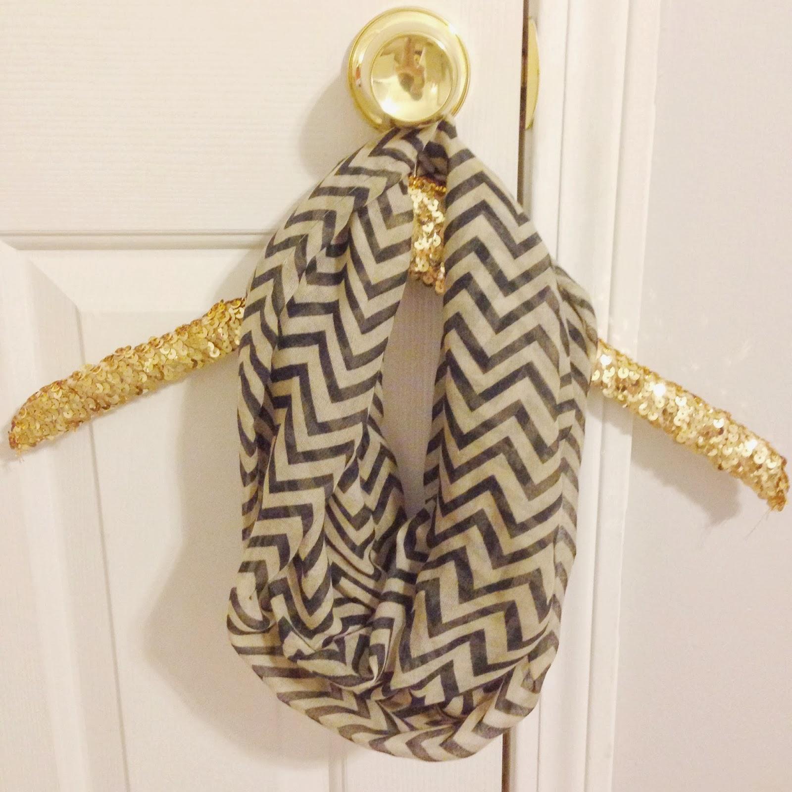 black and tan chevron infinity scarf
