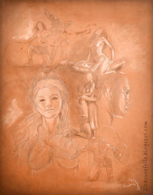 Spartacus Andy Whitfield Erin Cummings Viva Bianca Ilithyia Blood and Sand crayon craie blanche papier couleur portrait passion amour love lovers gladiateur gladiator