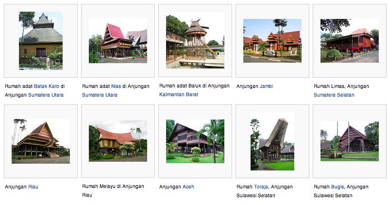 Rumah adat di Indonesia juga bervariasi di beberapa daerahnya, yaitu: