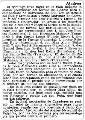 Recorte de La Vanguardia, 30 de octubre de 1912
