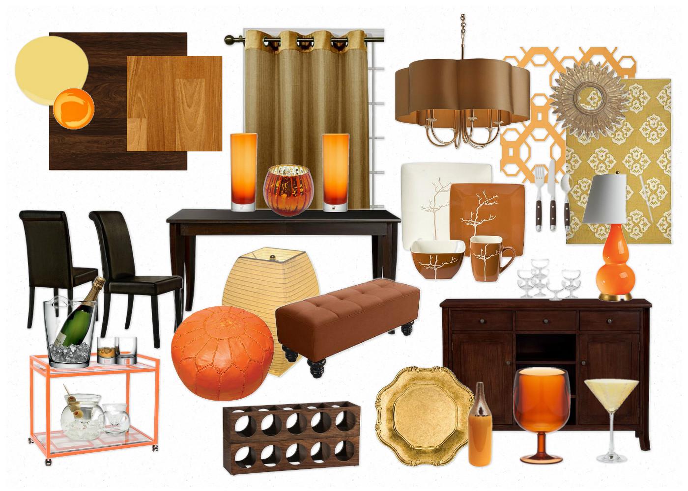 Dining room: light orangy hardwood floors, dark chocoalte brown title=
