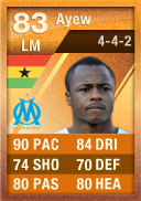 Andre Ayew (IF2) 83 - FIFA 12 Ultimate Team Card - Orange MOTM