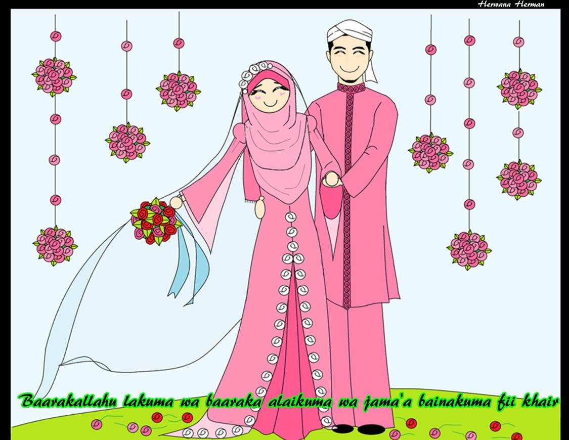 Pengantin Muslimah Kartun