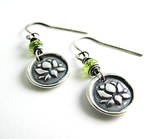 Sterling Silver Lotus Blossom Charm Earrings by Beth Hemmila of Hint Jewelry