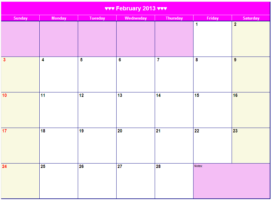 """Monthly Calendar Print Out : Search results for """"february calendar blank page"""