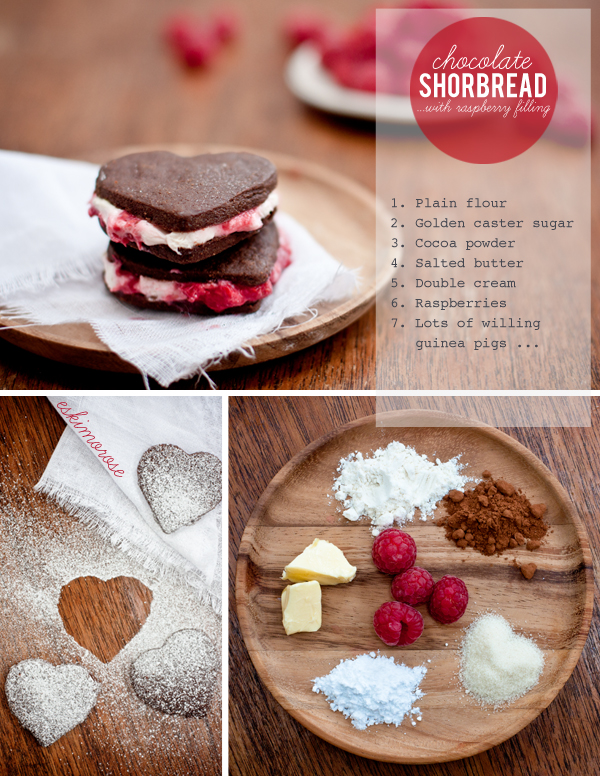 chocolate shortbread hearts with raspberry cream by eskimo*rose