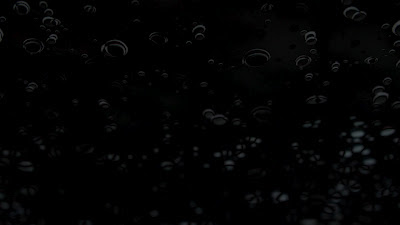 transparent water droplets on a black background