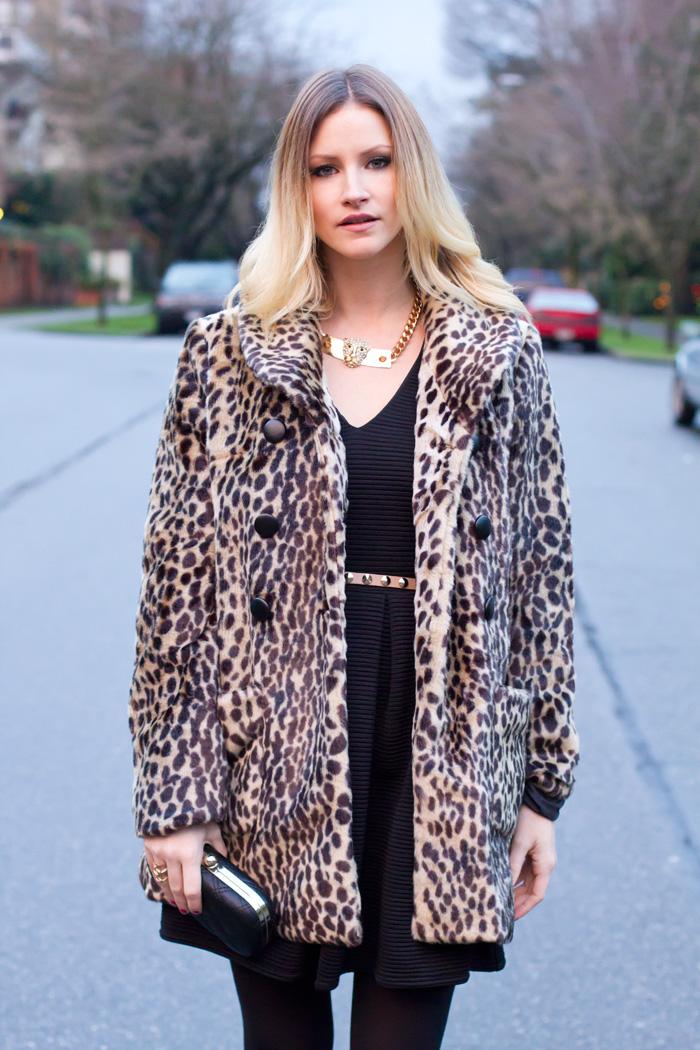 Vancouver Fashion Blogger, Alison Hutchinson, wearing Urban Outfitters leopard faux fur coat, Topshop tulip black dress, Collette black clutch, BCBG patent black leather heels, Zara leopard necklace.