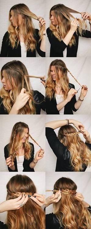 Acconciatura capelli lunghi trecce intorno alla testa