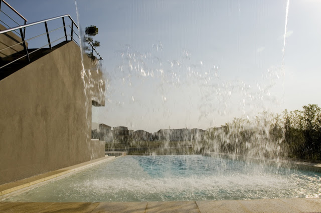Water falling into the pool