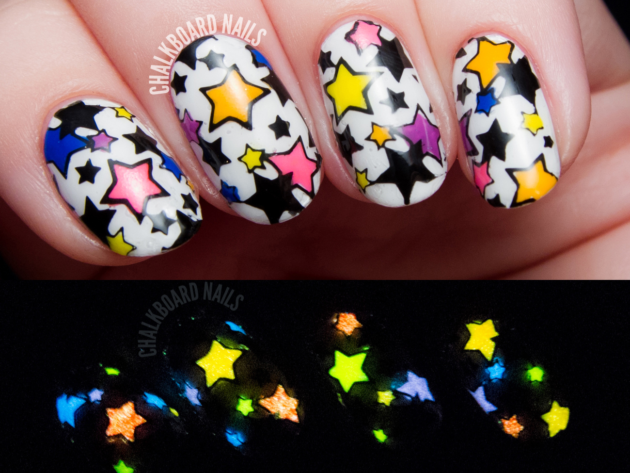 Glow in the dark star nail art by @chalkboardnails