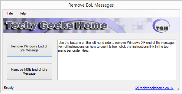 Click to view Remove Windows XP End of Life screenshots
