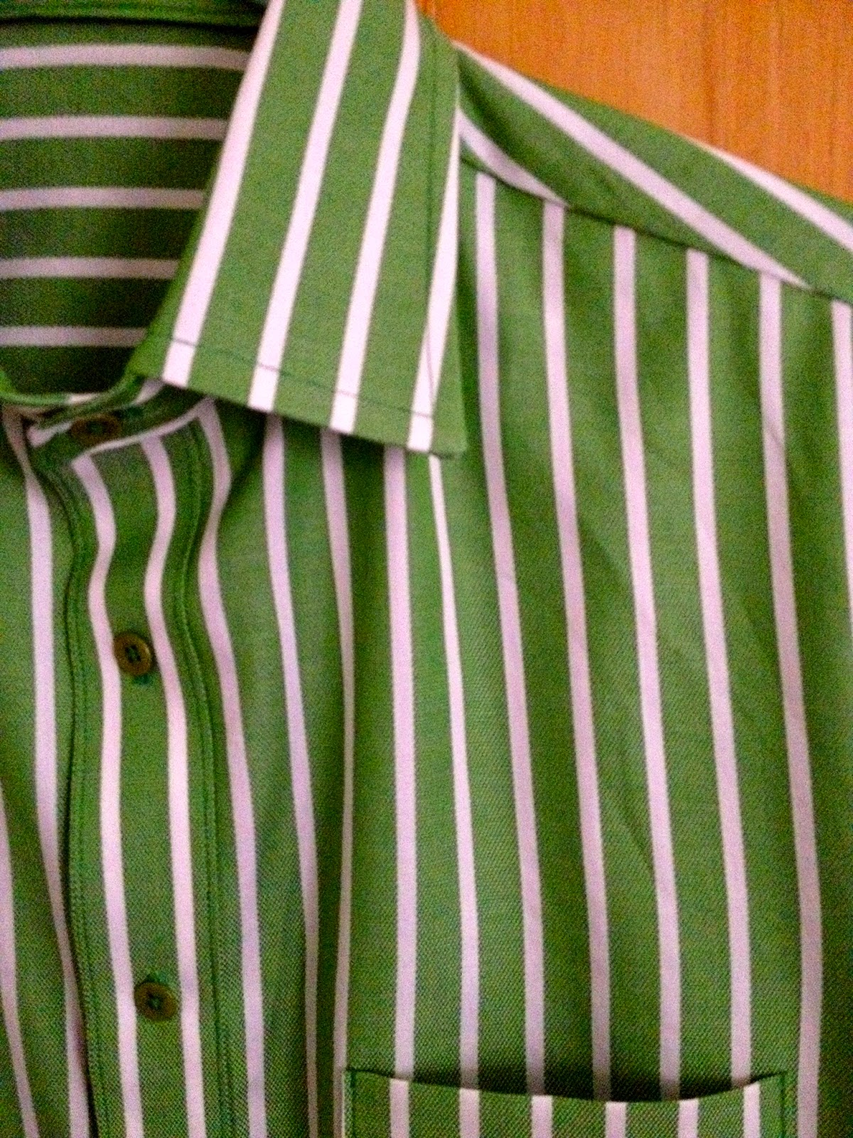 Diary of a Chain Stitcher: Green Striped Colette Negroni Shirt with Stand Collar