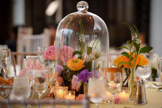 Bell Jars Rustic Wedding Centerpieces