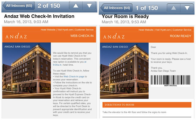 Hyatt Hotels web check in Andaz San Diego #cbias