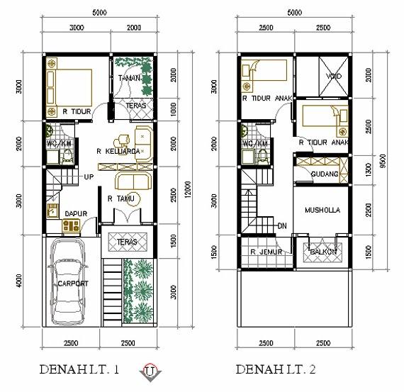 gambar desain denah rumah minimalis 2 lantai