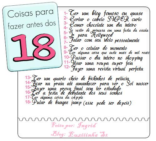 Euziiinha S2: Coisas Para Fazer Antes dos 18