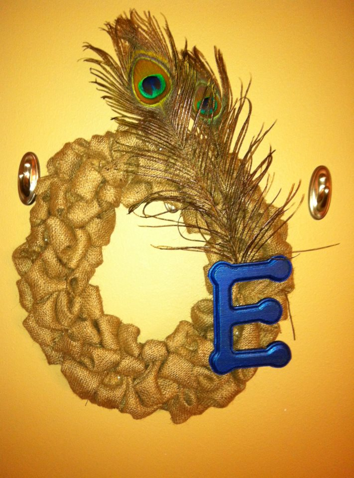 House To Home Crafts Burlap Peacock Wreath