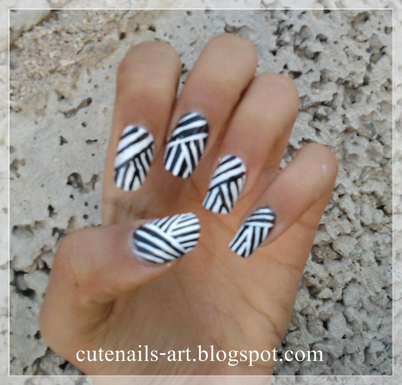 weaving lines nail art design/black and white - Cutenails-art: Weaving Lines Nail Art Design/black And White