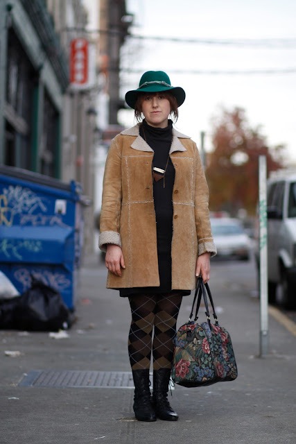 marisa chebul shearing coat, turtleneck argyle tights floral bag western hat seattle street style fashion it's my darlin'