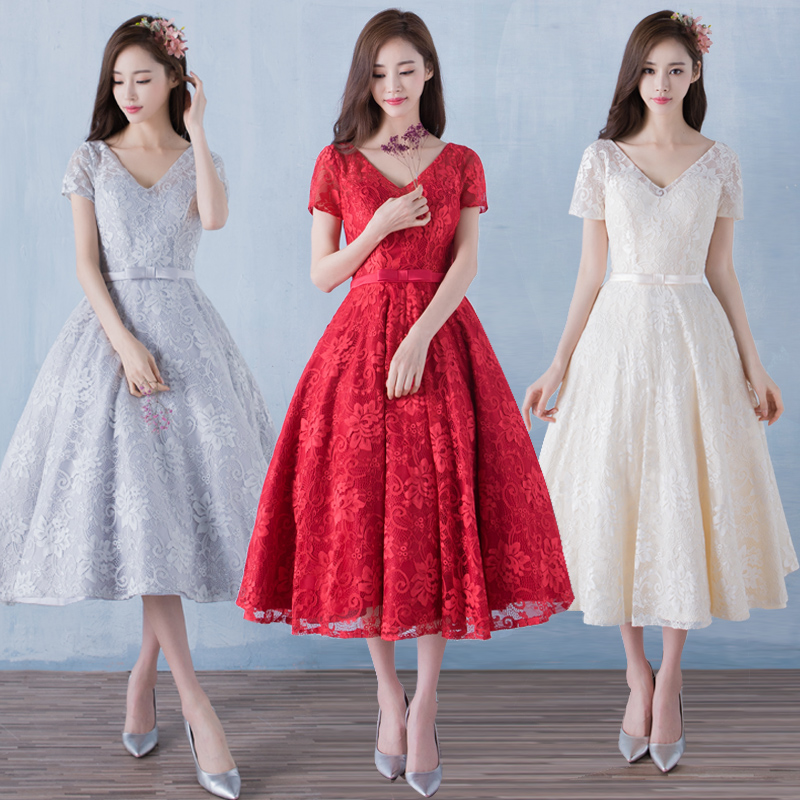 New 2016 Three Colors Short Sleeve Flare Lace Party Dress