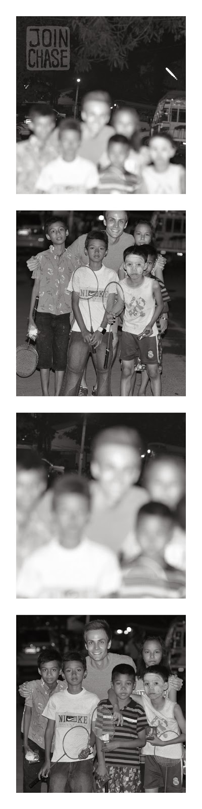 A photo strip of kids in a neighborhood in Yangon, Myanmar.