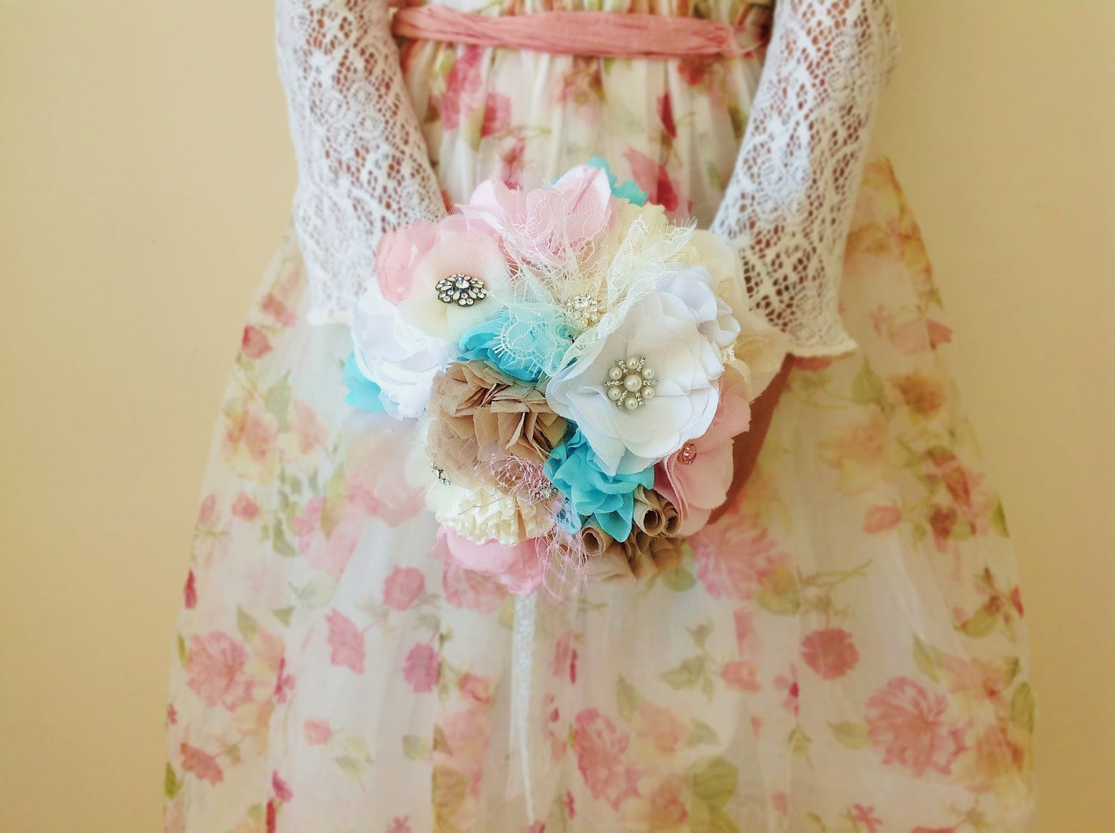 Fabric bouquet in pastel colors