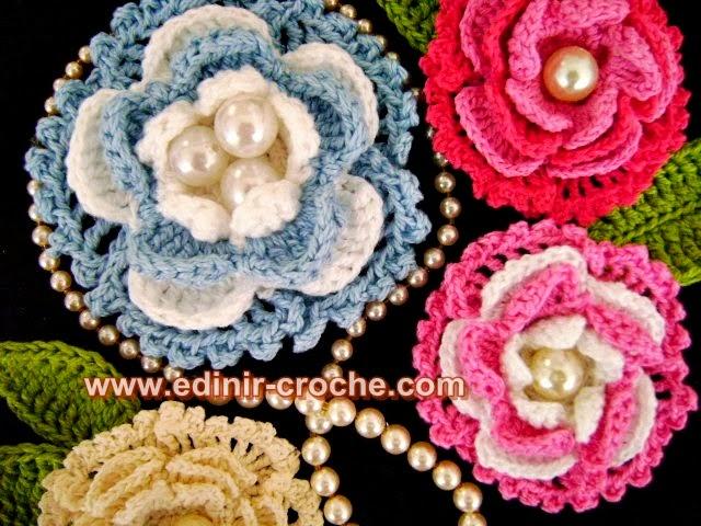 flores em croche da coleção aprendi e ensinei com edinir-croche