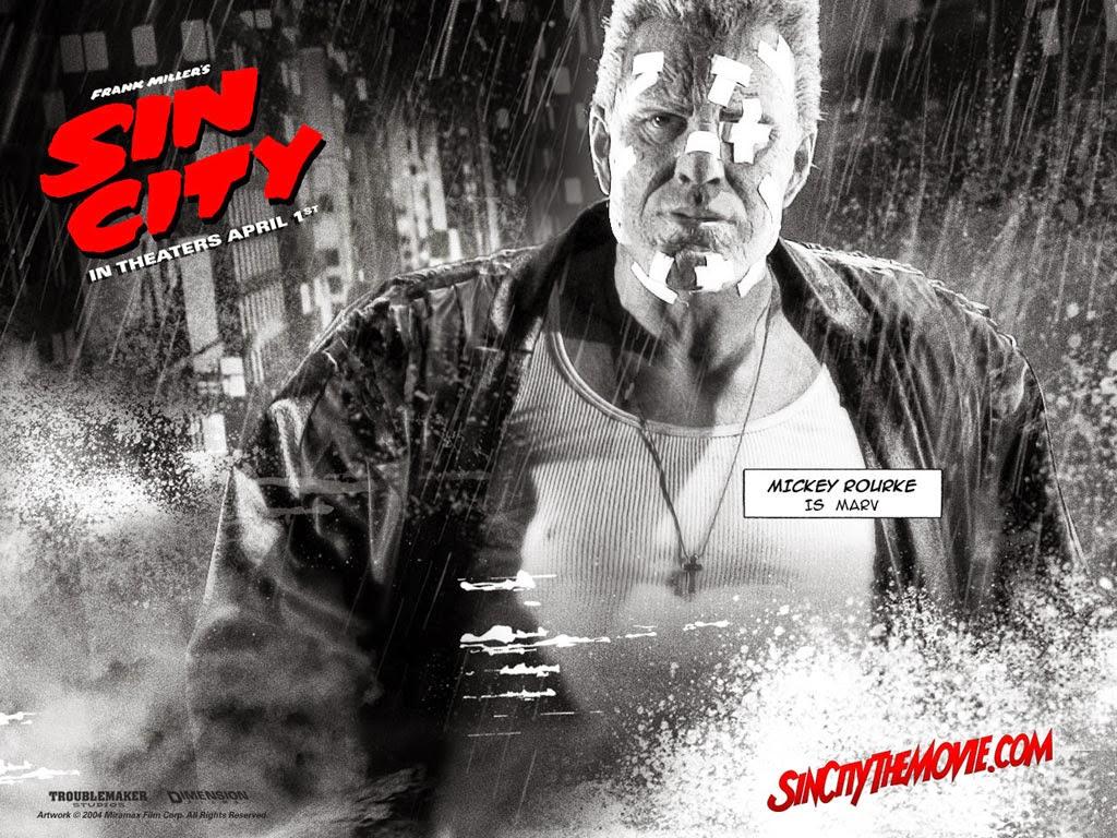 Marv dans Sin City (Mickey Rourke, méconnaissable) sorti en 2005