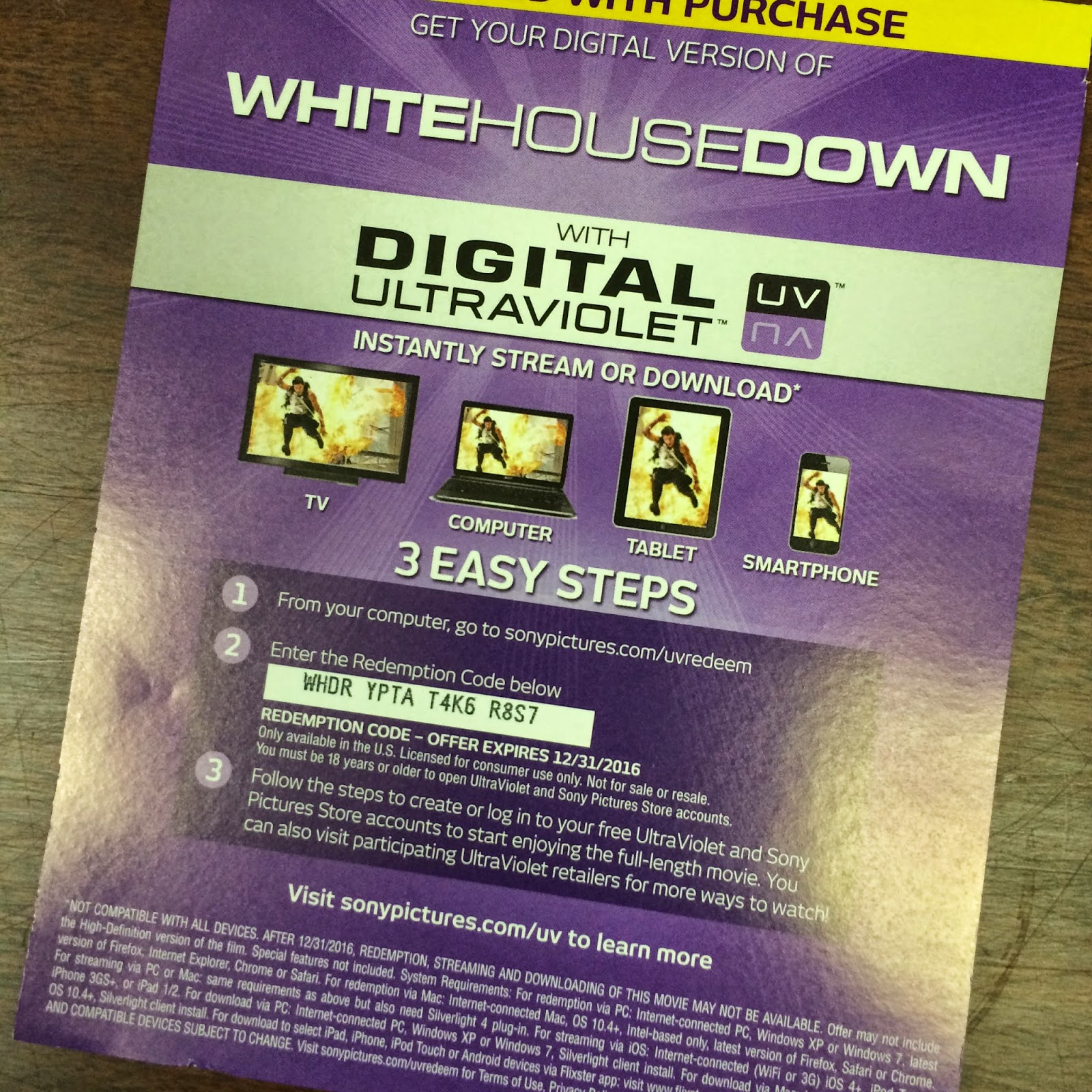 Cinema Sickness Free White House Down UltraViolet Code