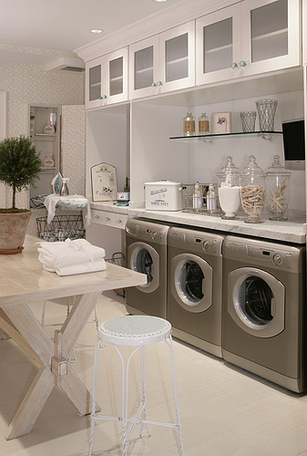 Light, Airy And Spacious, This Laundry Room Is Not Only Gorgeous, But Ready  For Duty. A Huge Folding Table, Plenty Of Storage And A Counter Topped With  All ...