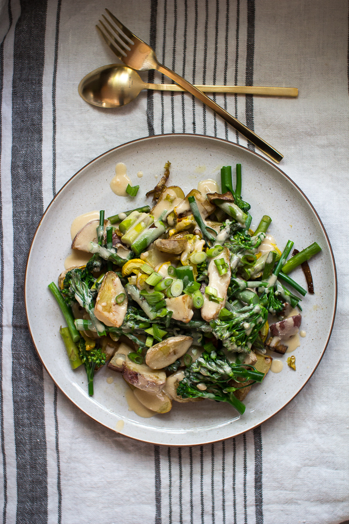 ... all the Spring Vegetables covered in a Creamy Lemon Goat Cheese Sauce