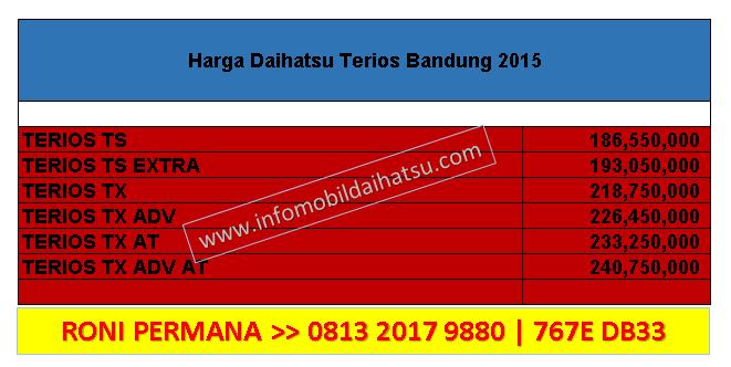 Harga Daihatsu Terios Bandung 2015, harga daihatsu terios 2015, price list daihatsu terios