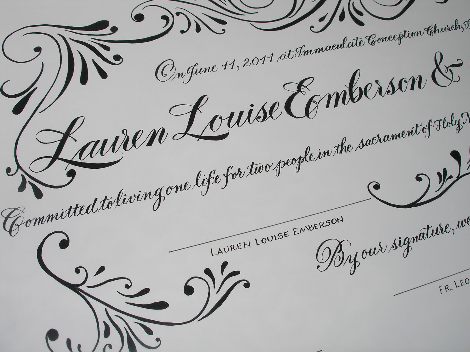A Place To Flourish Calligraphy For New York Wedding