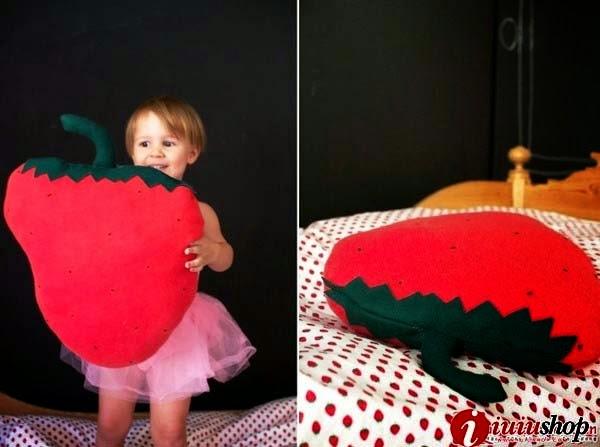 Hướng dẫn cách làm gối vải nỉ hình quả dâu cho bé cách làm gối handmade từ vải nỉ
