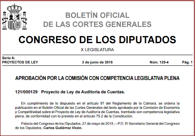 BOCG Proyecto Ley Auditoría Cuentas