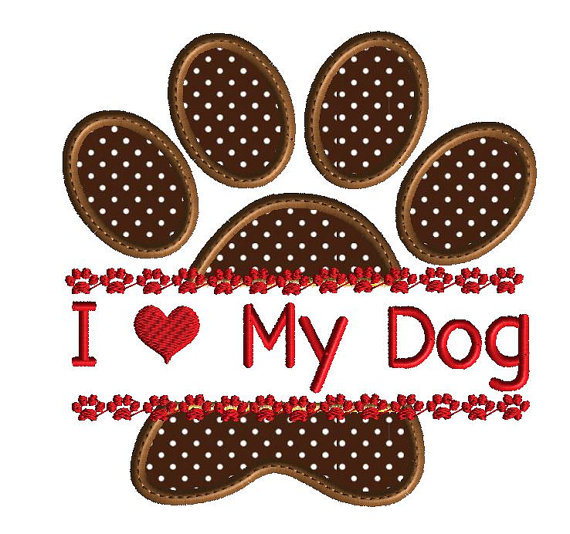 Adelaidescorner I Love My Dog Applique Design For Embroidery Machine
